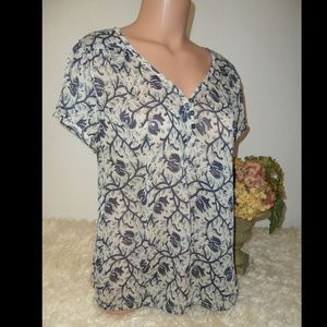 Lucky Brand Top Blouse Shirt Boho Floral Print Med